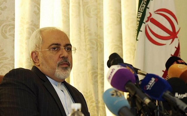 Iranian Foreign Minister Mohammad Javad Zarif holds a press conference on September 1, 2015, at the residence of the Iranian ambassador in the Tunisian capital Tunis.